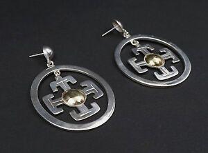 18k Yellow Gold Fine Silver Potent Cross Hoop Dangle Earrings 1000 A ES795