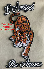 Set Of 3 Angry Tiger Large Embroidered Sew On Patch Fashion Applique DIY Biker