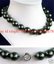 """Pretty 10mm South Sea Black Shell Pearl AAA Round Beads Necklace 18""""Bracelet Set"""