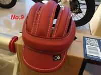 Handmade Red Cycling Helmet Bicycle Vintage Retro Leather Classic Outdoor