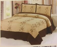 3 Pc Gold-BrownQuilt Floral Embroidery Bedspread King Size Coverlet Beding Set
