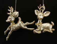 Two Gold Glitter Bambi Deer Christmas Hanging Decorations * Xmas Hanger Gift