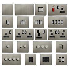 MegaSocket Screwless Slim Flatplate Light Socket & Switches BRUSHED CHROME Range
