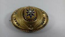 ANTIQUE ETRUSCAN REVIVAL 9CT GOLD SEED PEARL LARGE LOCKET  BROOCH 10 G