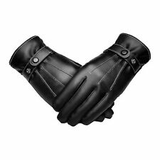 Leather Gloves Full Finger Mens Motorcycle Driving Winter Warm Touch Screen