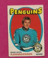 1971-72 OPC  # 190 PENGUINS SHELDON KANNEGIESSER ROOKIE GOOD CARD  (INV#1610)