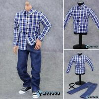 "1/6 clothes blue Plaid long sleeve shirt Jeans ZY Toys Set For 12"" Action Figure"