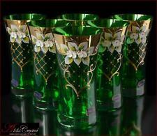 "Bohemia Glass Water Glasses 16 cm, 250 ml, ""Izabella"" Izumrud 6 pc New!"