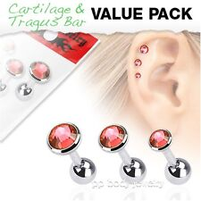 3 Pcs Value Pack of Assorted Steel Tragus Bar with Flat Red Gem Top