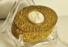 Antique brass lidded box painted cameo excellent