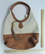 Women's BIG BUDDHA Tan Brown Cream Weave Hand Bag Purse Tote PRICE DROP