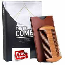 Beard Comb Men Wooden Natural Sandalwood Anti Static Doublesided Leather Casing