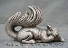 """8 """"Vieille Chine Argent Feng Shui Écureuil Écureuils Animal Statue Sculpture"""