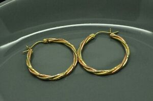 14K YELLOW WHITE & ROSE GOLD TWISTED ROUND HOOP EARRINGS 28mm #X14-2581