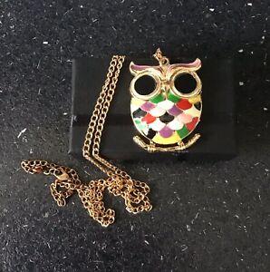 Multi Coloured Retro 0wl Design Necklace