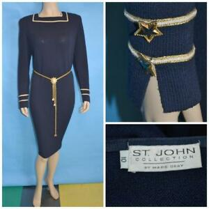 St John Collection Santana Knit Navy Blue Dress M L 10 12 Long-Sleeved Sheath