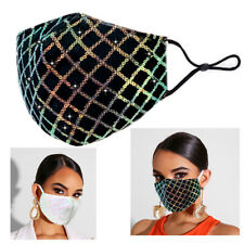 Women Sequin Lace Face Mask Crystal Breathable Mesh Mouth Masks