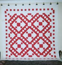 """Red & White JACOB'S LADDER Quilt: 76"""" x 76"""", c. 1900, Pennsylvania, Cottons."""