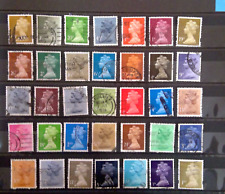 Bigger Lot Great Britain Uk Machin Postage Stamps Used off Paper Collection