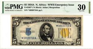 Fr. 2307* $5 1934A North Africa Silver Certificate. PMG Very Fine 30- GORGEOUS!