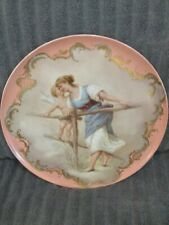 Antique Royal Vienna Hand Painted Porcelain Plate Raised Gold - Beehive Mark