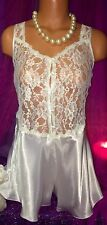 Vintage Victoria Secret Satin Teddy Lace Bodysuit Snap Romper Jumper Teddy M