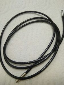 BLACK  BRAIDED PU LEATHER NECKLACE  WITH STAINLESS STEEL BAYONET CLASP 1 TO 3MM