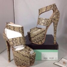 NEW NY LA High Heels Womens Shoes Size 7 Animal Snake Open Toe Ankle Platform