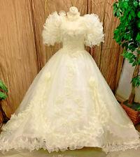 RUFFLES GALORE ORGANZA BALLGOWN WEDDING DRESS BRIDAL REN FAIE MED-LG PRE-OWNED