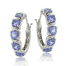 Sterling Silver 2.75ct Tanzanite S Design Hoop Earrings