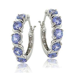Sterling Silver 2.75ct Tanzanite S Design Hoop Earrings