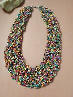 Vintage handcrafted braided beads collar bib necklace