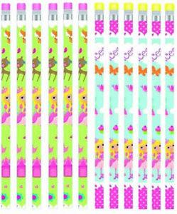 12pk Woodland Princess Pencils Girls Birthday Party Loot Bag Favours Gift Set