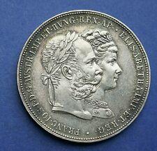 "1879 AUSTRIA HUNGARIAN Silver Two Gulden ""25th WEDDING ANNIVERSARY"""