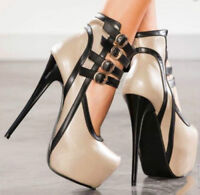 Super High Heels Womens Sexy Stilettos Sandals Platform Nightclub Buckle Shoes