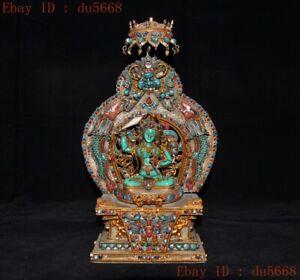 Tibet silver Filigree Inlay gem Hold sword Manjushri tara Kwan-Yin Buddha statue