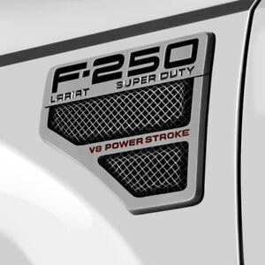 For Ford F-250 Super Duty 08-10 T-Rex Formed Mesh Polished Side Vent Grilles