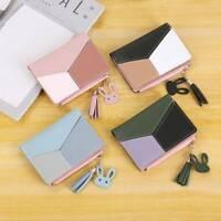 Women Short Cute 4 Colors Splice Simple Short Purse Coin Zipper Short Wallet t