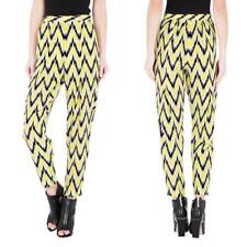New Sass & Bide 100% Silk Print Pants Yellow Politic Light Size 2