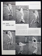 DAI REES GOLF PLAYER GOLFER GOLFING 1pp PHOTO ARTICLE 1936