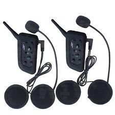2X Bluetooth Casque Ecouteur Intercom Interphone Microphone Moto Extérieur 1200m