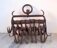 Vintage Original Old Handcrafted Iron Agricultural Wall Bucket Hooks Collectible