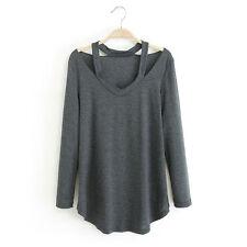 Hot UK Womens Ladies V Neck Off Shoulder Long Sleeve Loose T Shirt Blouse Tops