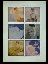 FEMMES ART NOUVEAU, ALEARDO TERZI -1910- PHOTOLITHOGRAPHIE