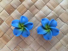 "Hawaiian Plumeria Flower Fimo Fashion Jewelry Post Earring BLUE 1in"" 25m"