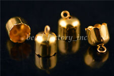 20Pcs Golden Charms Bead End Caps Stopper Fit 9mm Cord Leather Crafts Necklace