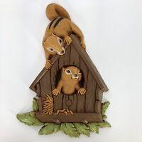 Syroco Squirrel Plaque Wall Hanging Plastic Homco 70's Kitsch Decor Birdhouse