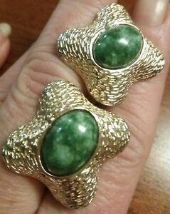 Vintage Men's CUFFLINKS STERLING Silver T2 Moss Agate Jasper Mid Century Modern