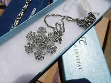 NEW Touchstone Crystal Swarovski Snowflake Necklace Tag & Box Signed