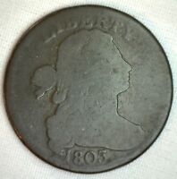 1803 Draped Bust Copper Large Cent Early Penny Type Coin S260 Variety Good 1c